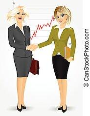 femmes affaires, blond, secousse, deux mains