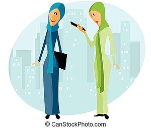 femmes affaires, deux, musulman