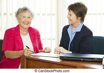 femmes affaires, heureux, mûrir