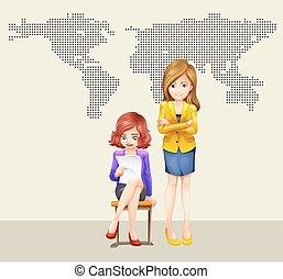 femmes affaires, mondiale, deux, carte
