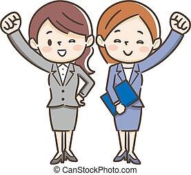 femmes affaires, motivé, deux, illustration, jeune