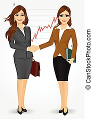 femmes affaires, secousse, deux mains
