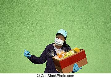 femmes, aide, nourriture, boîte, donation, nourriture