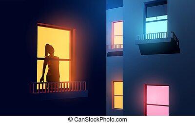 femmes, appartement, fenêtre, elle, regarder dehors