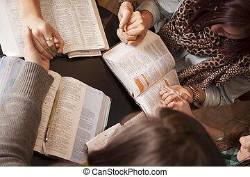 femmes, arc, et, prier