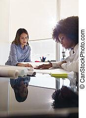 femmes, architectes, revue, plans, et, projet logement, dans, bureau