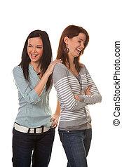 femmes, are, fâché, et, offensé, quand, discuter