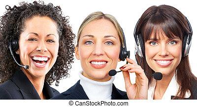 femmes, business, casque à écouteurs