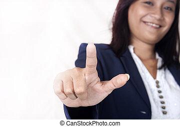 femmes, business, main