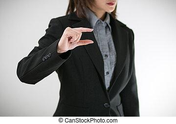 femmes, business, présent, main
