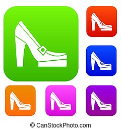 femmes, chaussures, ensemble, collection, plate-forme