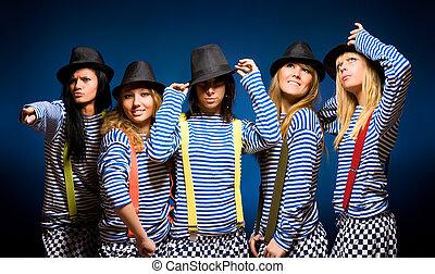 femmes, cinq, équipe