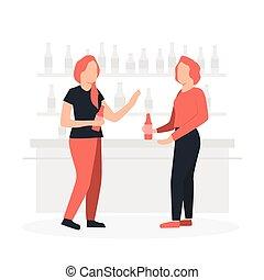 femmes, compteur, barre, conversation, autour de, deux