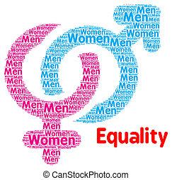 femmes, concept, égalité, hommes, sexe