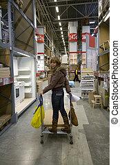 femmes, dans, entrepôt