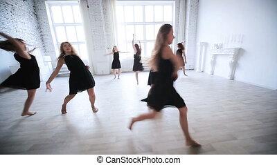 femmes, danser., équipe