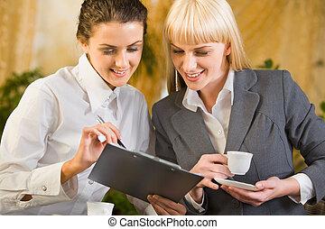 femmes, deux, business