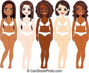 femmes, diversité, sous-vêtements