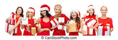 femmes, dons, heureux, chapeaux, noël, santa
