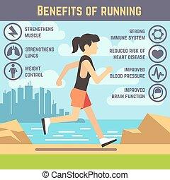 femmes, exercise., jogging, courant, santé, infographics, ...