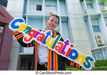 Femmes, félicitation, Asiatique, signe