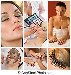 femmes, grimer, à, santé beauté, spa, montage
