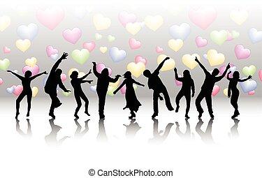femmes, hommes, fond, danse
