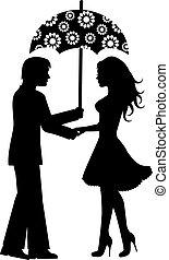 femmes, hommes, parapluie, sous