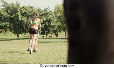 femmes, jogging, sport, deux, jeune