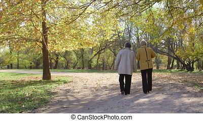 femmes, loin, marche, personne agee