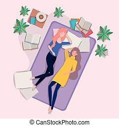 femmes, matelas, jeune, délassant, chambre à coucher