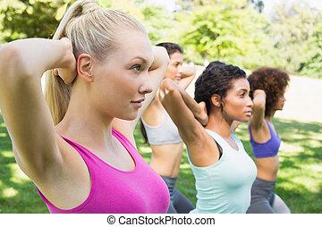 femmes, parc, exercisme