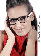 femmes, regarde, business, lunettes