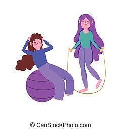 femmes, saut, jeune, corde, balle, crise, exercices, ...