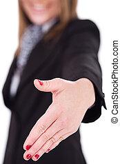 femmes, secousse, offrande, business, main