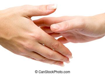 femmes, serrer main