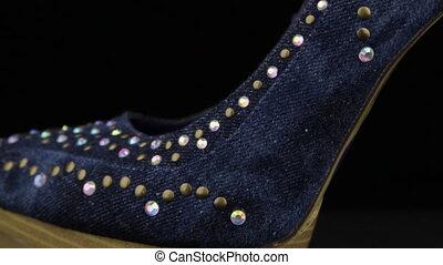 femmes, shoes., à hauts talons, orteil, talon, jean, ...