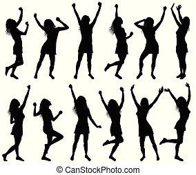 femmes, silhouettes, heureux, illustration, danse
