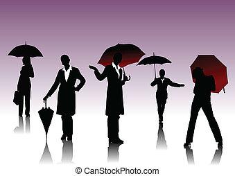 femmes, silhouettes, parapluie