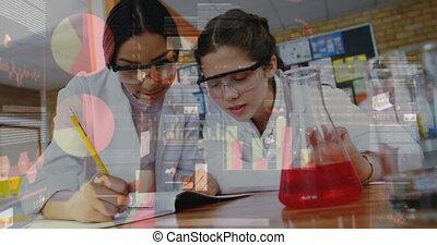 femmes, sur, experiments., données, confection, jeune, graphique