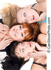 femmes, trois, excité