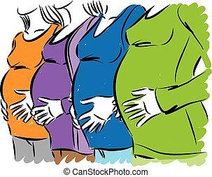 femmes, vecteur, groupe, illustration, pregnant
