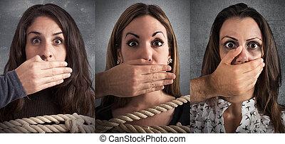 femmes, violence, bannière, terrifié