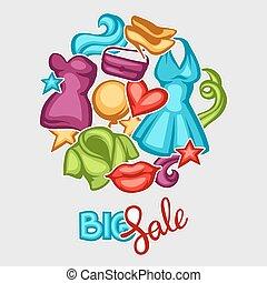 femmina, abbigliamento, vendita, fondo, accessori