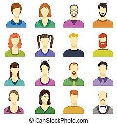 femmina, affari, moderno, avatars, icons., persone, vettore, umano, facce, maschio