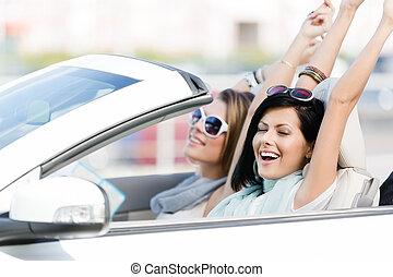 femmina, amici, automobile, con, mani in alto