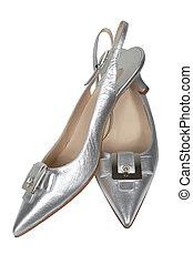 femmina, argento, scarpe