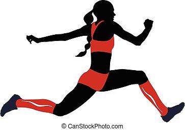 femmina, atleta, triplo, salto