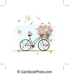 femmina, bicicletta, con, cesto floreale, per, tuo, disegno