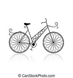 femmina, bicicletta, per, tuo, disegno